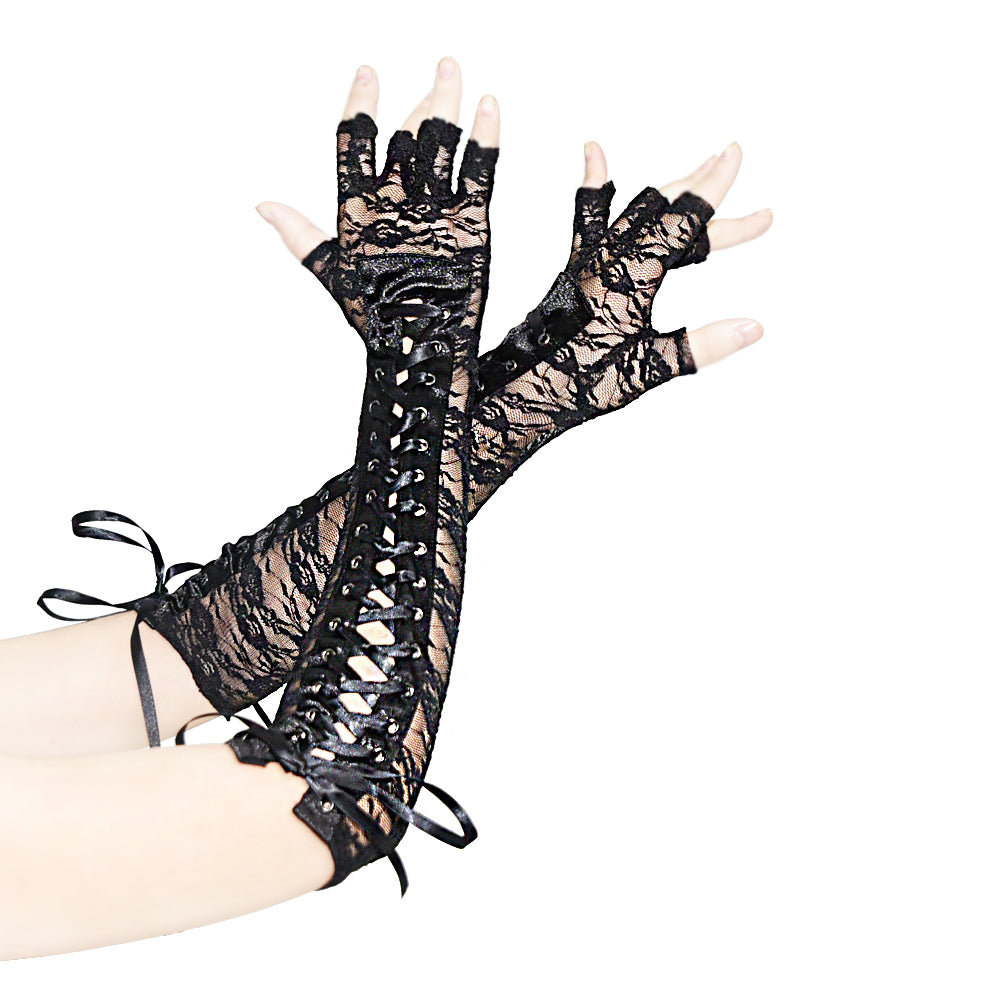 Black Floral Lace Half Fingers Gloves Arm Wear Accessories Elbow Length Punched Lace-up