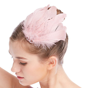 MiDee Luxurious Feather Hair Flower Clip Head Decoration Headpiece Accessories Wedding Bridal Formal Fashion CHP024
