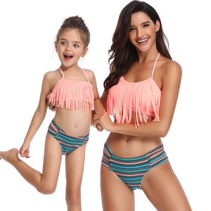 2020 New Parent-child Swimwear European and American Tassel Split Bikini Popular Swimwear Mother-Daughters Swimsuit