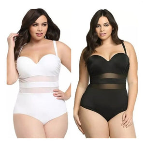 Sexy Yarn Stitching Steel Plate Gathered Woman Plus-sized Slimming Hot Spring One-Piece Swimming Suit Plus Sizes for Women