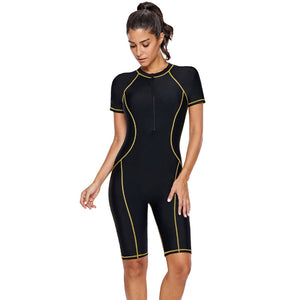 2020 Women's Short-Sleeves Zip Sunscreen Surfing Snorkeling Quick-Drying Tight One-Piece Swimming Wear Diving Suit