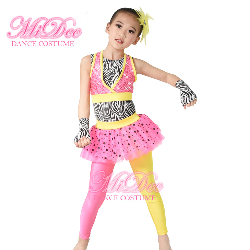 ... Polka Dots Tutus Skirt Attaches Pants Sequins Vest Jazz and Tap Dance Costumes ...  sc 1 st  MiDee Dance Costume & Polka Dots Tutus Skirt Attaches Pants Sequins Vest Jazz and Tap ...