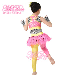 Polka Dots Tutus Skirt Attaches Pants Sequins Vest Jazz and Tap Dance Costumes