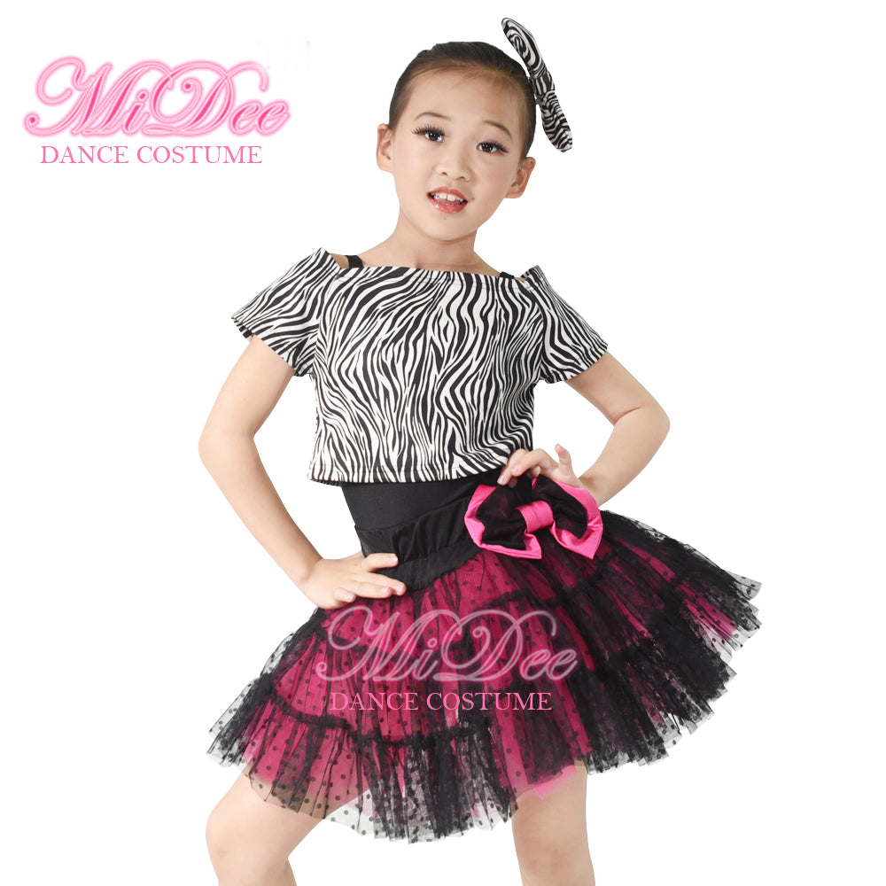 2ae3ddd0d ... MiDee Zebra Tank Top Tulle Skirt Black Leotard Kids Dance Clothes  Outfits ...