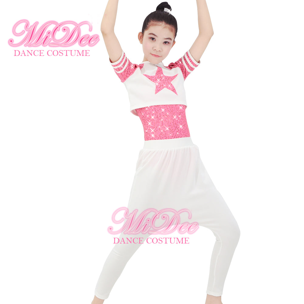 99aff45b8aec8 ... Hip Hop Outfits Dance Costumes White Harem Pants Three Pieces Outfits  Leotard, Harem Pants and ...