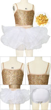 Gold/White Tires Tutu Dress Dance Costume Sequins Performance Wear for Girls