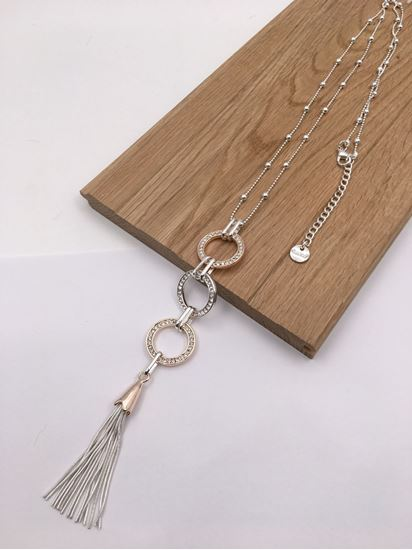 Long, Treble Circle filled with Diamante, Tassle Necklace
