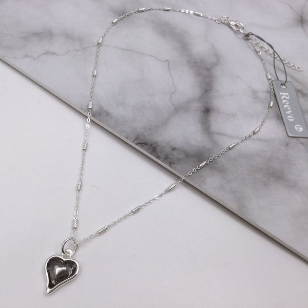 Glass Feature Heart Necklace