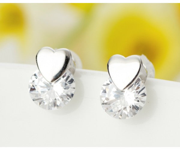 Earring -925 Silver Range, Small Heart Stud, with Diamante Drop