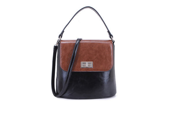 Two Tone Metal Clasp Bag