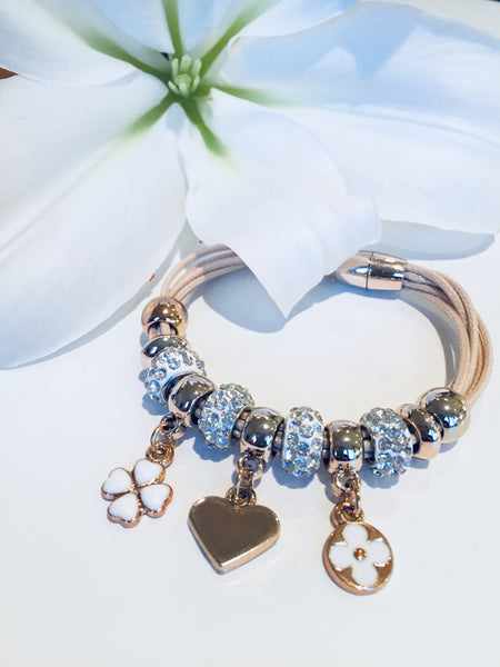 Corded Charm Bracelet (Champagne)