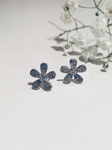 Earring-925 Silver Range,  Flower Earring with Diamante stones