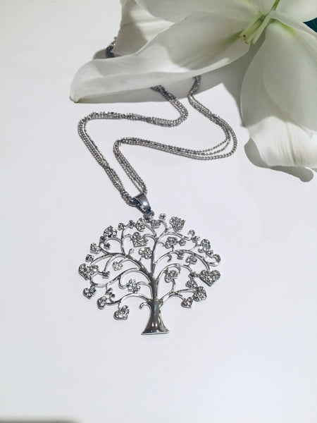 Tree of life Silver Necklace with Diamante stones