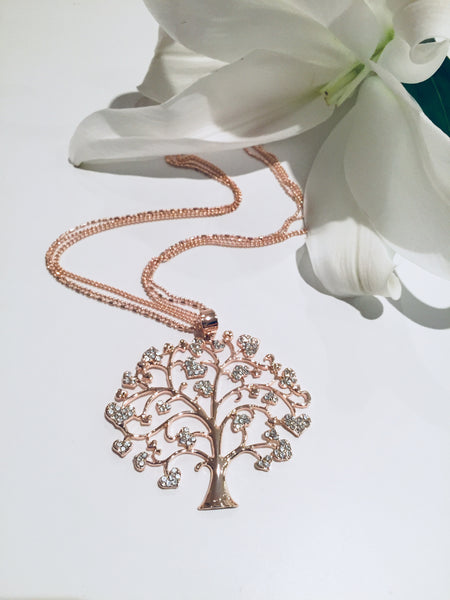 Tree of Life Rose Necklace with Diamante stones