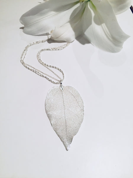 Delicate Leaf, Triple Chain Long Necklace