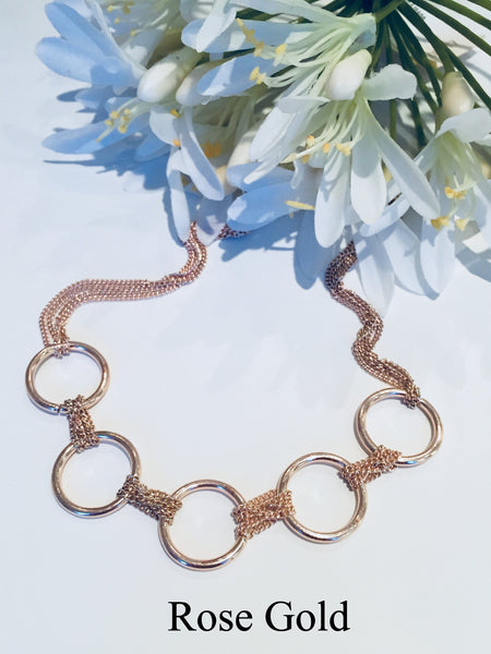 Multi Chain Link Silver Choker Necklace