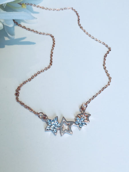 Delicate Multi Star Rose Gold Necklace