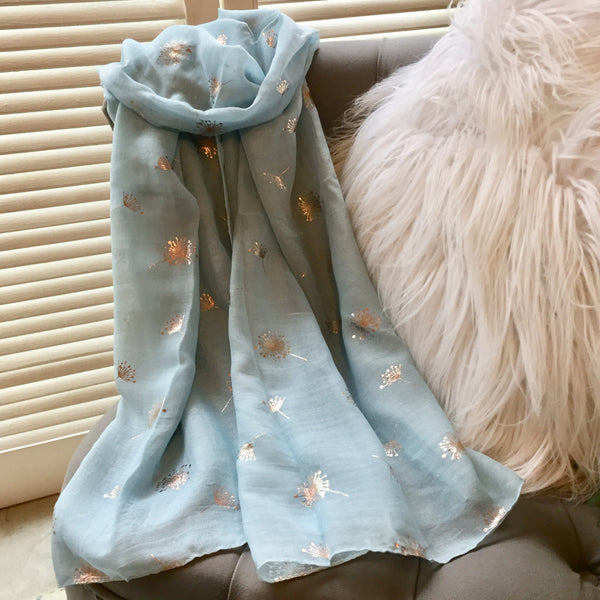 Foil Print Light Blue / Gold Dandilion Scarf