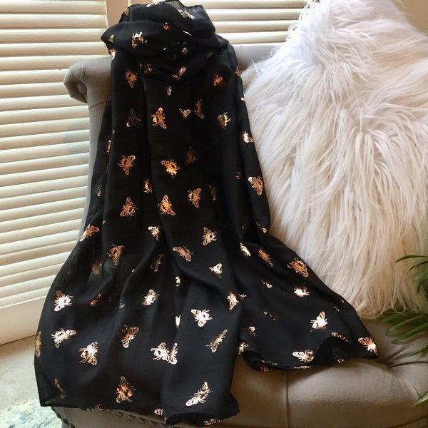 Foil Print Black / Gold Bee Scarf