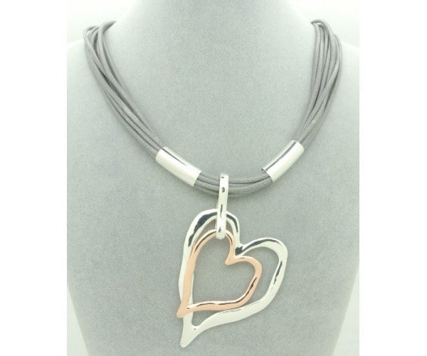 Double Heart, On Short Stranded  Necklace