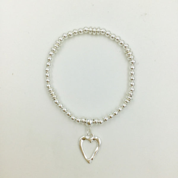 Beaded Stretch Heart Charm Bracelet