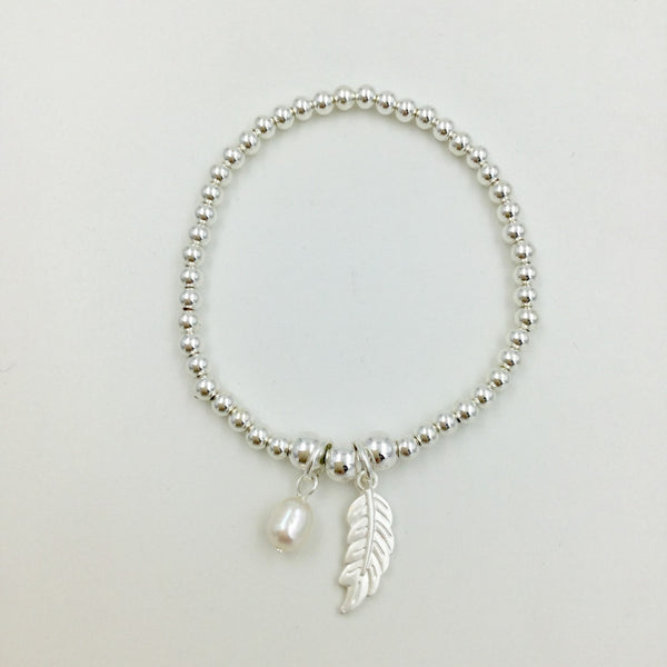 Beaded Stretch Feather and Pearl Bracelet