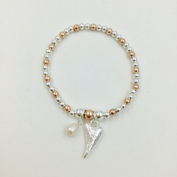 Beaded Stretch Heart and Pearl Bracelet
