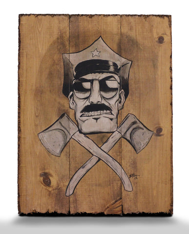'Cop and Axes' Limited Edition SIGNED Wood Print
