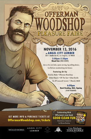 Offerman Woodshop Event Poster SIGNED by NICK OFFERMAN & ETHAN NICOLLE