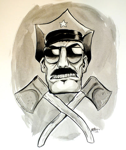 "Original 14""x17"" Illustration ""Cop and Axes"""