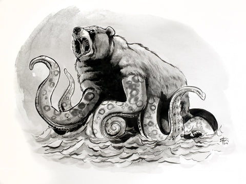 "Original 14""x17"" Illustration ""Octobear"""