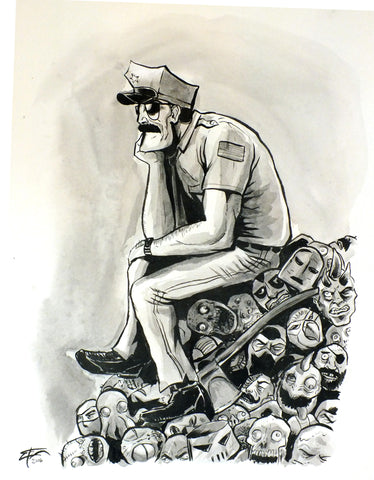 "Original 14""x17"" Illustration ""Relax Cop"""