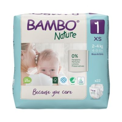 Bamboo Nature Eco-Friendly Diapers - Size-1 (2-4 KG)