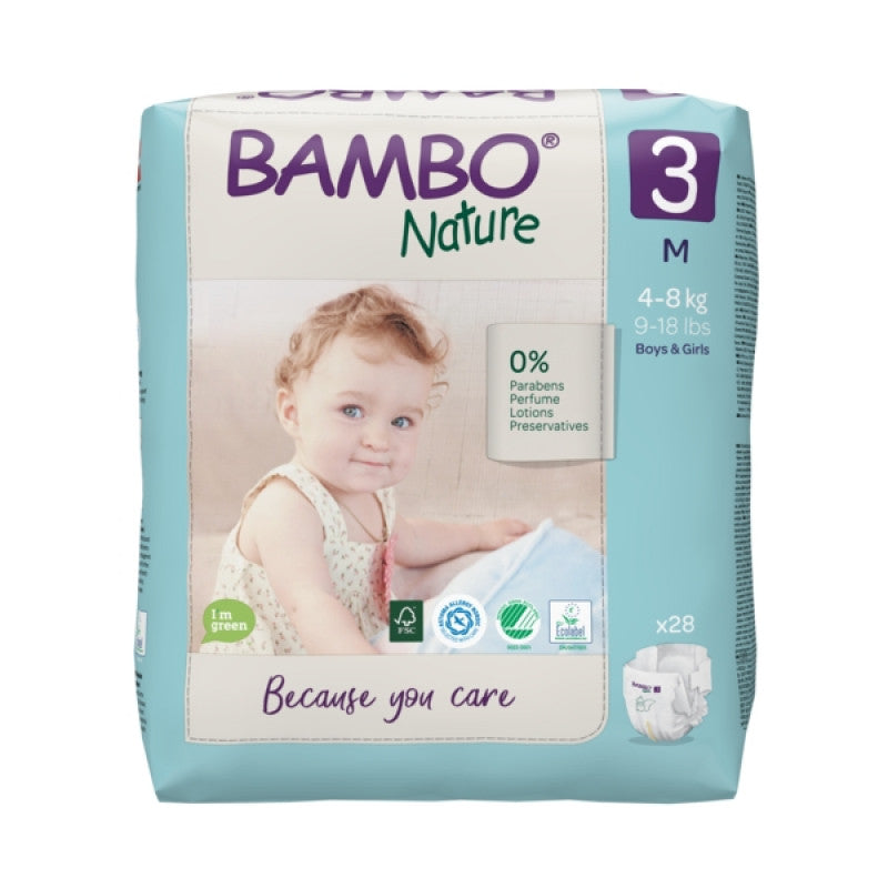 Bamboo Nature Eco-Friendly Diapers - Size-3 (4-8 KG)