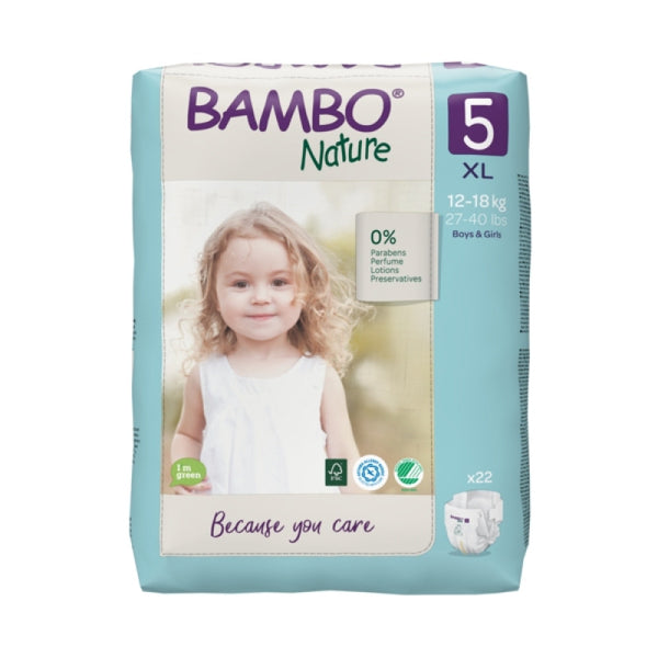 Bamboo Nature Eco-Friendly Diapers - Size-5 (12-18 KG)