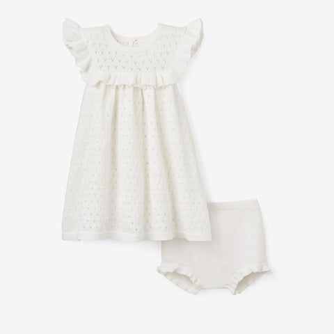 POINTELLE DRESS + BLOOMER  | WHITE