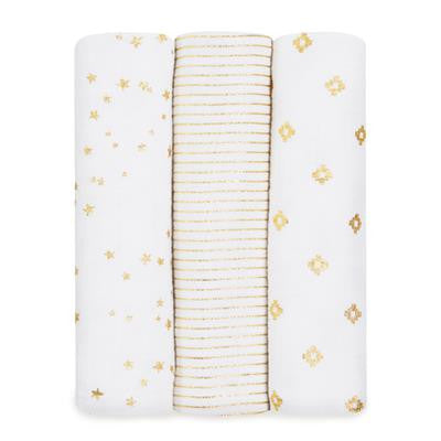 3 Pack Swaddles - Metallic Gold