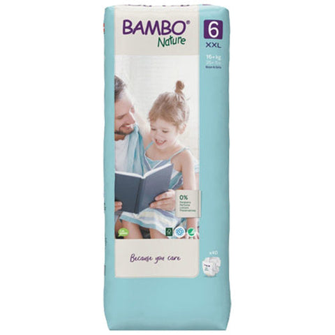 Bamboo Nature Eco-Friendly Diapers | Size-6 (16+KG) | Tall 40pcs