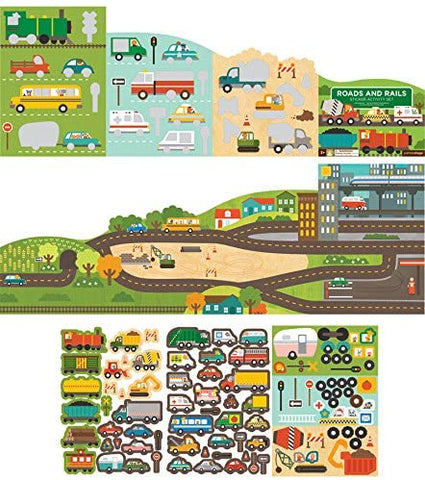 Roads and Rails sticker activity set