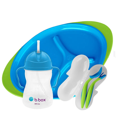 b.box Toddler Feeding Set | Color: Ocean Breeze | Includes: Sippy Cup, Cutlery Set and Divided Plate | 6 Months + | BPA-Free | Phthalates & PVC Free | Dishwasher & Microwave Safe