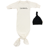 Loved | Organic Infant Gown  & Top Knot | Black | 0-3m