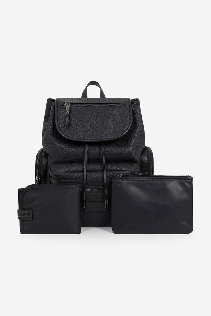 Faux Leather Kaspar Knapsak - Black