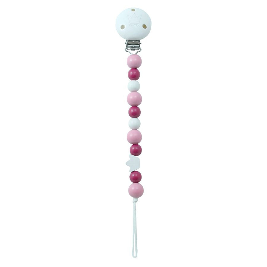 CROWN PACIFIER CLIP - PINK