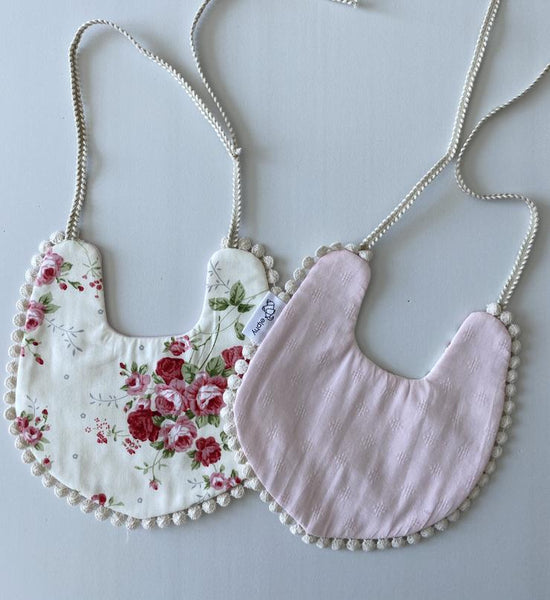 Reversible Cotton Bibs | Pink Floral
