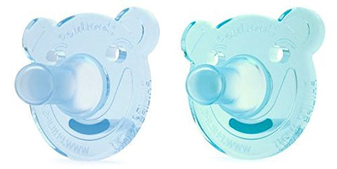 Soothie Bear Pacifier, Blue & Green, 0- 3 Months / 2 Pack
