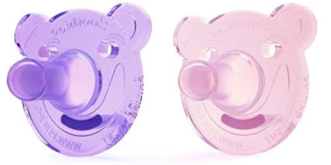 Soothie Bear Shape Pacifier Pink & Purple 0-3 / 2 Pack