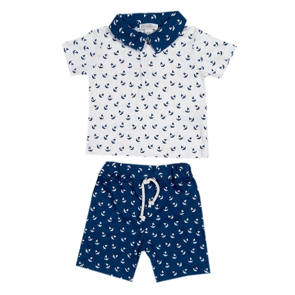 Sail Away White/Navy Bermuda Set