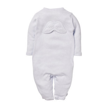 Pointelle Angel wings sleepsuit - White (6-12M)