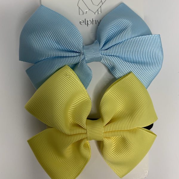Bow Hair Tie | Yellow + Blue