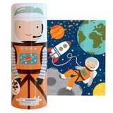 into space 64-piece puzzle tin & coin bank